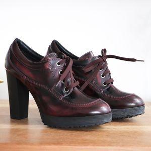 Hogan Marron Leather lace up heels